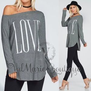 Gray Off Shoulder Love Top